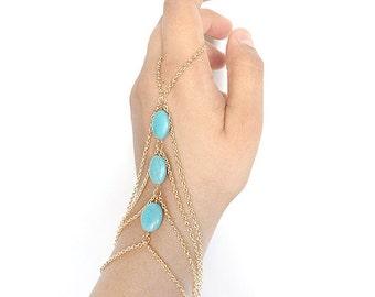 hand chain bracelet - turquoise slave bracelet - hand ring bracelet - gold hand chain ring - boho hand chain jewelry - bohemian jewelry