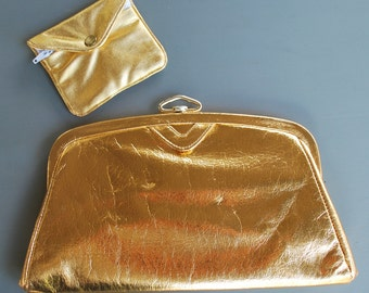 Vintage Gold Lame Clutch Purse With Coin Purse