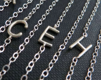 Celebrity initial necklace, sideways initial necklace in gold or silver, dainty letter charm, personalized gift for her