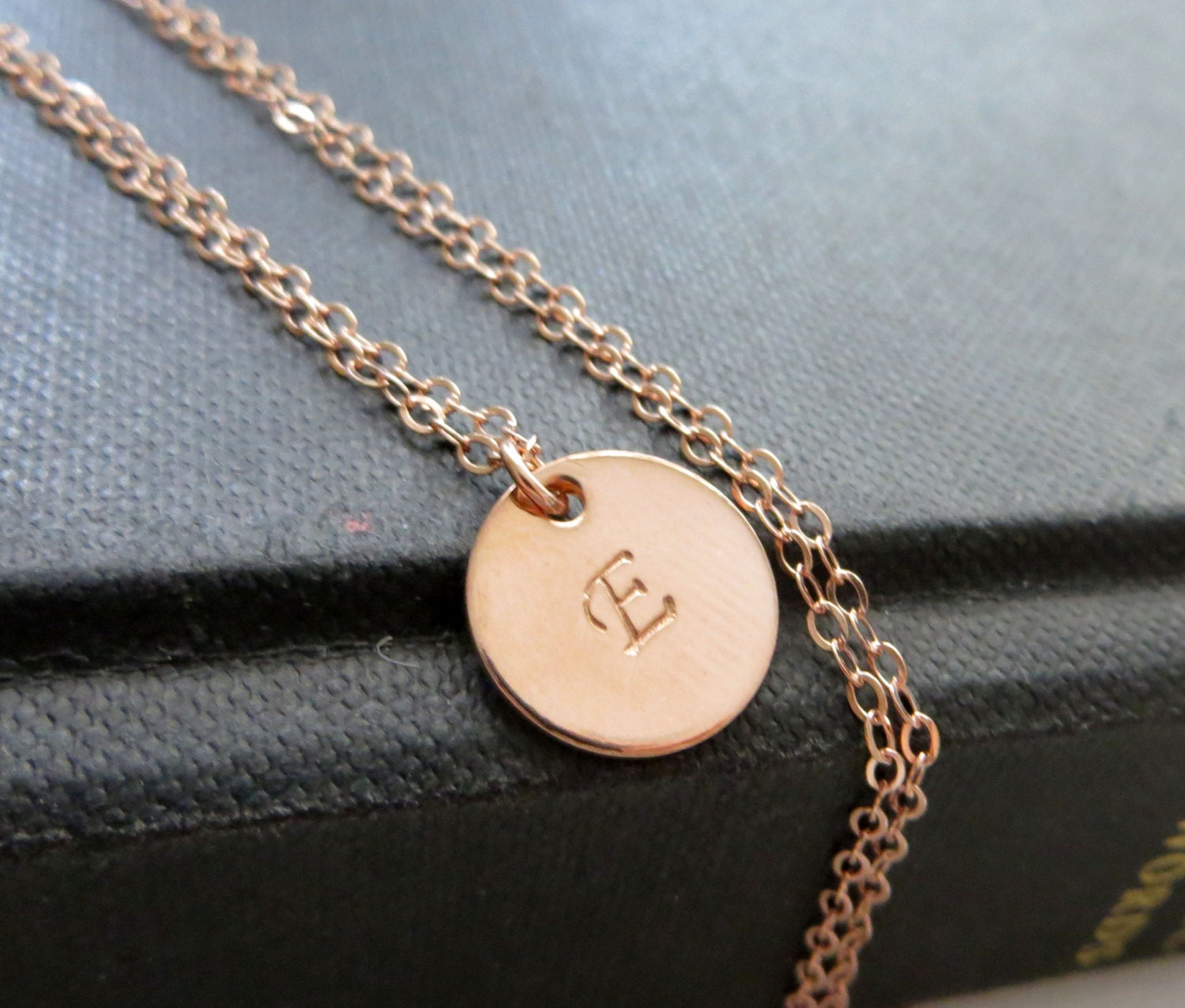 Rose gold initial necklace personalized jewelry minimalist for Rose gold personalized jewelry