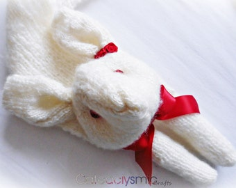 Cream Bunny Rabbit Scarf with Red Roses