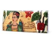 Bi-fold Clutch - Frida Kahlo fabric - tropical birds - landscape format