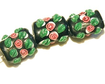 DESTASH -- Three (3) Black and White Polka Dot Puffy Lampwork Pillow Beads with Pink Rosebuds -- Lot  UU