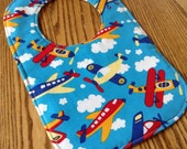 Bright Blue Reversible Baby Bib, Triple Layer, Snap Closure.  Flying High