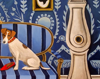 Fine Art Print of Original Still Life Painting -Jack Nibbles Prada-  by catherine nolin- Jack Russell Terrier
