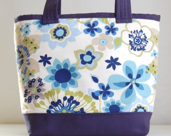 Navy Blooms Fabric Tote Bag - READY TO SHIP