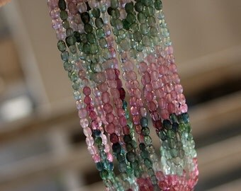 "Bright Colors Pink Green Blue Watermelon AAA Gem Tourmaline Step Cut Puff Oval Drop Drum Beads 7 1/4"" strand"