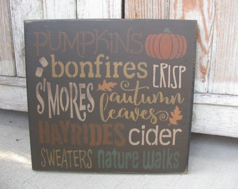Primitive Fall Autumn Typography Subway Tile Hand Stenciled Sign GCC5949