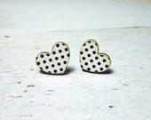 Vintage Polka Dots Heart Earrings