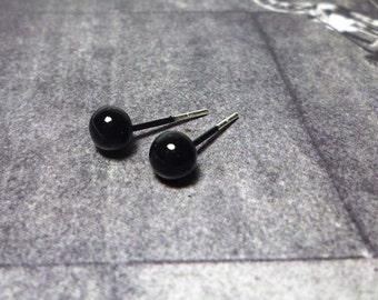 Black Ball Stud Earrings, Sterling Silver Ball Earrings, Ball Stud Earrings - 5mm
