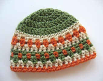 Ready To Ship - Crochet Newborn Beanie Hat - Olive Tan Pumpkin Baby Hat - Crochet Baby Boy Hat - Autumn Baby Boy Hat - 0 to 3 Months