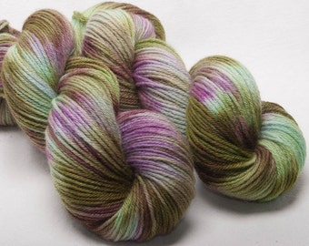 Hand dyed yarn Bluefaced Leicester BFL Hand painted Indie dyedDK yarn 100g skein Evergreen