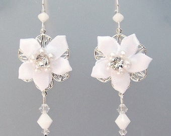 White flower fabric earrings, twinkling white camellias with Swarovski crystal, romantic white bridal earrings