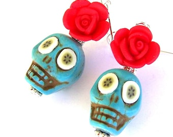 Turquoise skull earrings, Halloween earrings, red flower earrings, turquoise sugar skull earrings, Day of the Dead, blue and red skulls