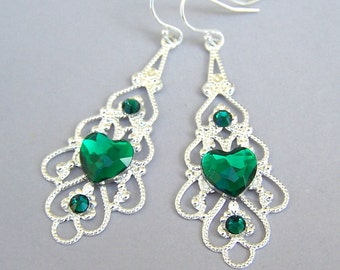 Green heart silver filigree earrings, Valentine's Day gift, emerald hearts, green and silver with Swarovski emerald accents