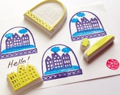 amsterdam snow globe stamps. town house hand carved rubber stamp. christmas scrapbooking. holiday crafts. gift wrapping. set of 4