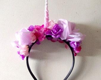 Unicorn Horn Headband - Unicorn Costume - Halloween Costume - Unicorn Crown - Flower Crown Headband - Unicorn Cosplay - Unicorn Headband