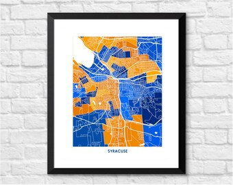 Syracuse Map Print.  Choose the colors and size.  University Wall Art.  Upstate New York Decor.