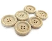 Natural wood button set of 6 craft button 23mm  (BB119D)
