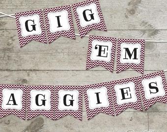 Texas A&M Gig 'Em Aggies Chevron Printable Banner