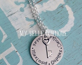 Personalized Hand Stamped Key To My Heart Necklace