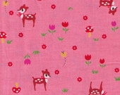 One Yard Lecien Japanese Import Fabric - Pink Deer, Butterfly, flowers, mushrooms -OOP