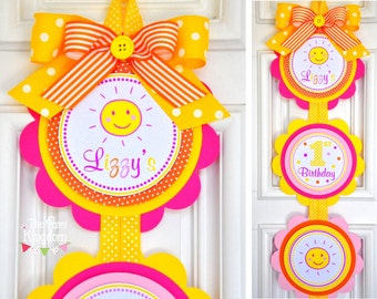 You are my Sunshine Vertical Door Sign, Welcome Door Hanger in Yellow, Pink and Orange, You are My Sunshine Birthday Party