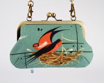 Metal frame handbag with shoulder strap - Lovely swallow - Party purse / Graphic bird / Modern / Brown nest / Red slate blue grey / Canvas