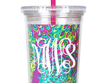 Monogrammed Lilly Pulitzer Lilly's Lagoon Acrylic Tumbler with Straw