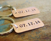 Couple Keychain,Matching Set of 2, Wedding Date, Custom Hand Stamped, Wedding Gift,Engagement Gift,Anniversary Gift,Couples Gift,His Hers