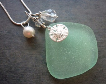 Sea Foam Sea Glass Necklace Sand Dollar Beach Glass Sterling Jewelry Pendant