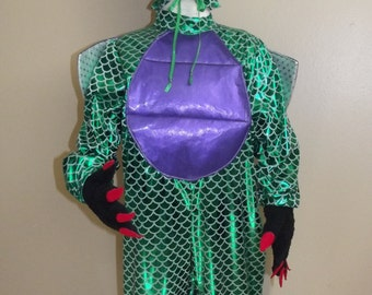 Dragon Costume, 4 pieces, body suit, hood, pair of claw gloves- size 3/4