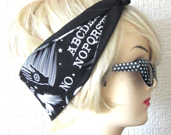 Ouija Board Hair Tie Print Rockabilly Head Scarf by Dolly Cool Occult Dark Arts witch witchy
