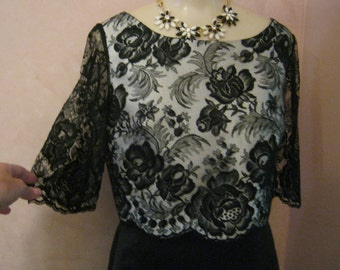 Vintage black lace cream color lined short dressy top, black lace short length evening top, size Small below bust black lace dressy top