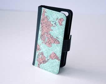 iPhone 7 World Map Wallet Case, iPhone Wallet Case iPhone 4, iPhone 5, iPhone 6, 6 Plus, 6s, 6s Plus Case, Wallet, Samsung Galaxy S4, S5, S6