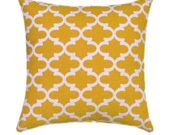 Yellow Throw Pillow, Premier Prints Fulton Corn Yellow and White Moroccan Quatrefoil STUFFED Throw Pillow Free Shipping