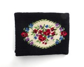 Needlepoint Wallet Vintage 1960s Black Floral