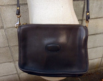 Gray Leather Purse Vintage 1980s Thick Leather