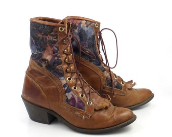Roper Boots Vintage 1980s Capezio Tapestry Distressed Brown Lace up Women's size 6 1/2