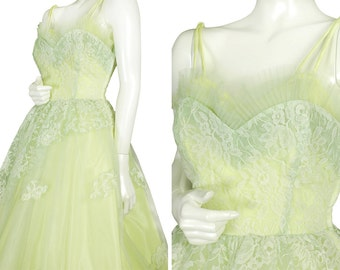 vintage 50s chartreuse bullet bra prom party dress, asymmetrical lace skirt, attached crinoline and cone bra, unique color, size M