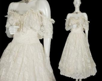 vintage 80s ivory Jessica McClintock Victorian lace wedding gown, off-shoulder, drop waist, ballet length, sweetheart bust, size M