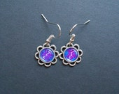 AMBROSIA AFFORDABLES 13 x13 mm Earrings Blue Magenta Silver