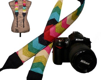 Colorful Chevron Dslr Camera Strap Nikon Padded SLR Neck Strap Canon Desert Flower pink red blue green black