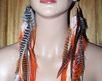 Orange Grizzly Feather Earrings, Really Long Feather Earrings, Feather Earrings, Long Feather Earrings, Long Feathers