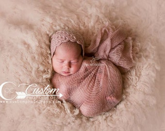Newborn Wrap Photography Props, Handmade Penny Pink Mohair Wrap, Newborn Props, Photography Props, Knit Baby Wraps, Baby Girl Props