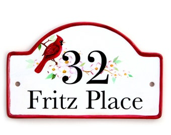 personalised hand painted house plaque, house number, house name plaque on ceramic base
