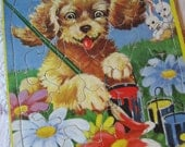 Adorable Vintage 1950 Saalfield Cardboard Frame Tray Puzzle with Cute Puppy