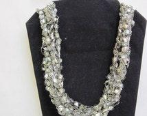 Fiber  Necklace in  silky  platinum pearl  metallic ladder ribbon yarn