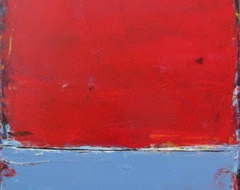 Large Painting Red Art Abstract Landscape Modern, 30 x 30 inches