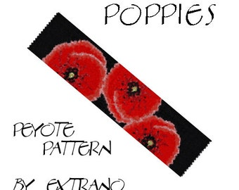 Even Peyote Bracelet Pattern by Extrano - POPPIES - 6 colors ONLY - Instant download